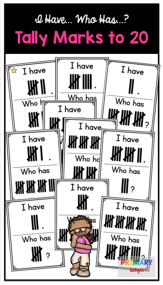 This I Have... Who Has...? game is perfect for teaching kindergarten and first grade students about tally marks. It reviews tally marks for the numbers 1-20.