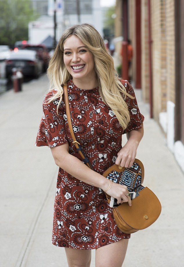 Stylish: Hilary was back in New York on Thursday for filming on her TV show Younger and was pictured in Soho wearing a fun 60s-inspired ensemble