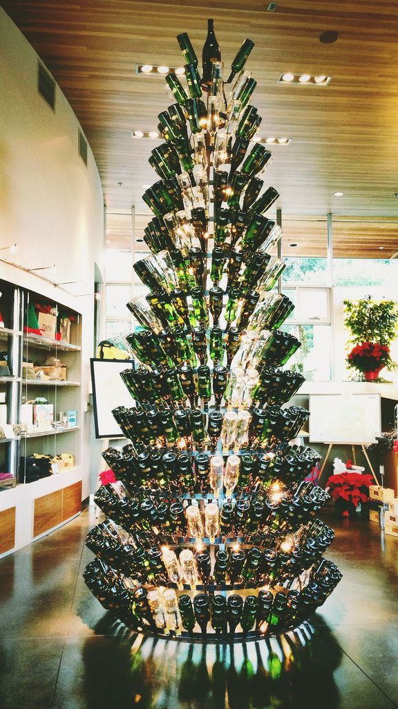 Image Result For Wine Bottle Christmas Tree Wine Bottle Christmas Tree Christmas Window Decorations Unusual Christmas Trees