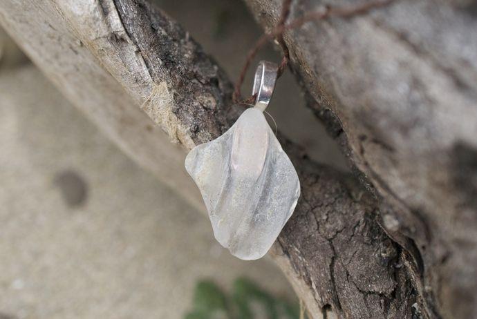 White Sea Glass Pendant Necklace by Windrush Cove, $10.00 USD