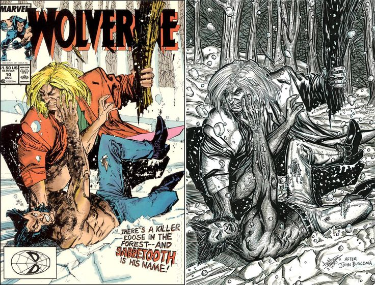 2014 Here's your side-by-side comparison of the original Wolverine #10 cover by the the phenomenal John Buscema (featuring the first appearance of Sabretooth!) next to my homage cover!:-) #arielsartwork #wolverine #wolvie #logan #johnhowlett #sabretooth #victorcreed #xmen #firstappearance #johnbuscema #inks #copic #copicmarker #art #illustration #cover #comparison #homage #tribute #marvel #marvelcomics
