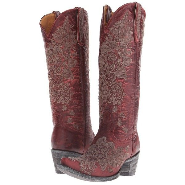 Old Gringo Nicolette (Red) Cowboy Boots ($630) ❤ liked on Polyvore featuring shoes, boots, knee-high boots, leather boots, cowgirl boots, red cowboy boots, western cowboy boots and leather cowboy boots