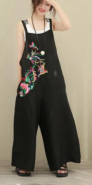 21e571fbdb49 BLACK LOOSE WIDE LEG EMBROIDERY PATTERN COTTON LINEN OVERALLS WOMEN CLOTHES