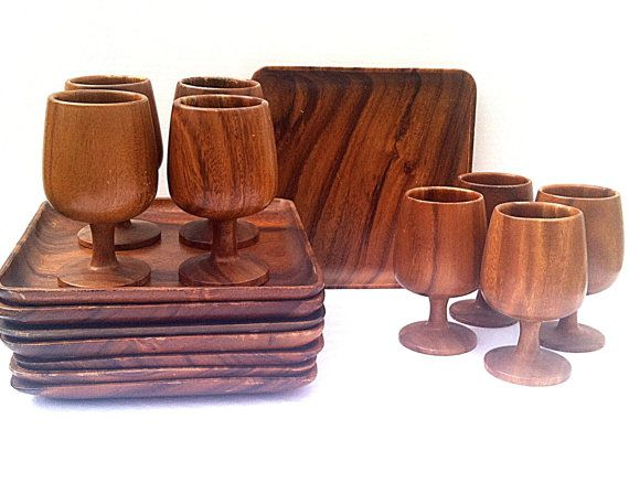 Danish Modern Teak #Wood Dinnerware Set Plates and Goblets Set of 8 Like Monkey Pod  sc 1 st  Pinterest & 37 best Wooden Dinnerware images on Pinterest | Dish sets Dishes ...