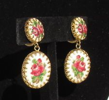 VINTAGE EARINGS RED ROSES PETIT POINT NEEDLEPOINT FILIGREE EXCELLENT
