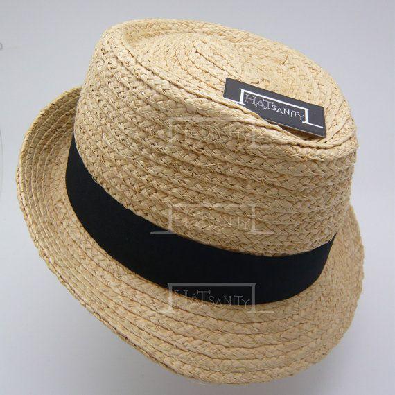 Summer Beach Natural Raffia Straw Fedora Hat by HATsanity on Etsy