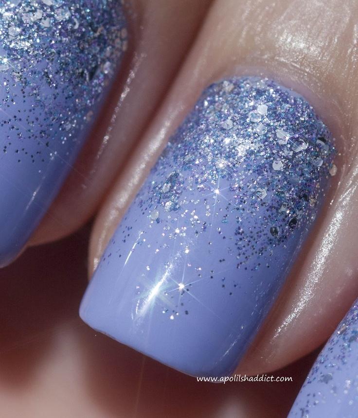 Bluebell + Reverse Glitter Gradient | A Polish Addict