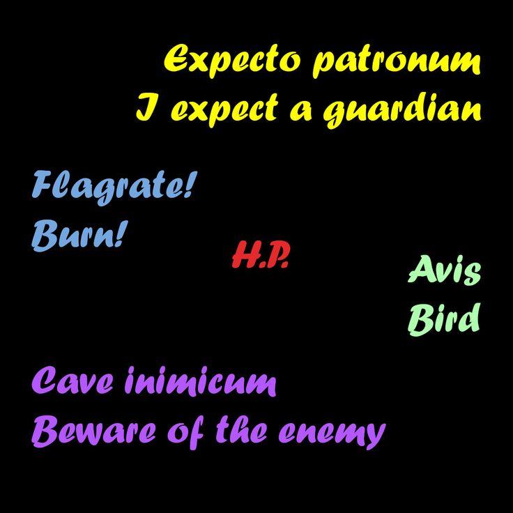 Magic Words Of Harry Potter Expecto Patronum Latin Phrases Latin Quotes Magic Words
