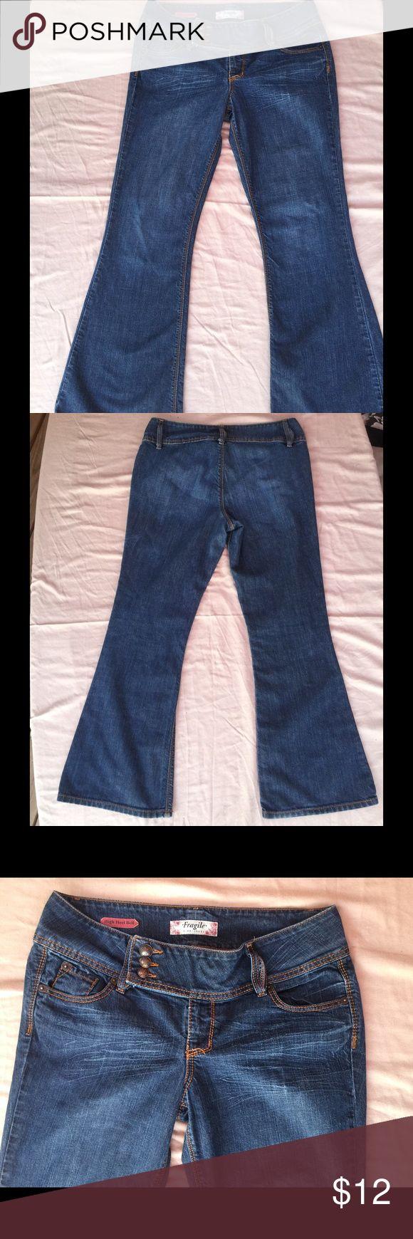 Fragile blue jeans High heel bell, size 14, no pockets on back Fragile Jeans Flare & Wide Leg