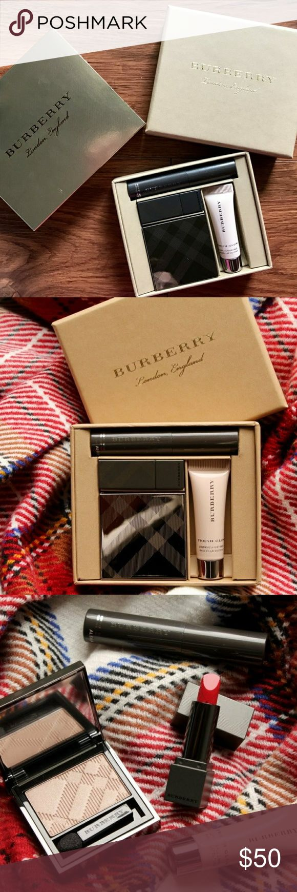 Burberry mini beauty box festive collection Sold out online and in stores Brand new and unused. Only opened the box to take pictures Perfect for a woman who loves makeup  What it is: A collection of Burberry beauty products presented in a signature, giftable box. Box includes: Mini fresh glow luminous fluid base in Nude radiance no. 1 (0.17 oz) Full-size eye color in Pale barley no. 102 (0.02 oz) Mini lip velvet in Military red no. 429 (0.02 oz) Mini Burberry cat lashes in Jet black no. 1…