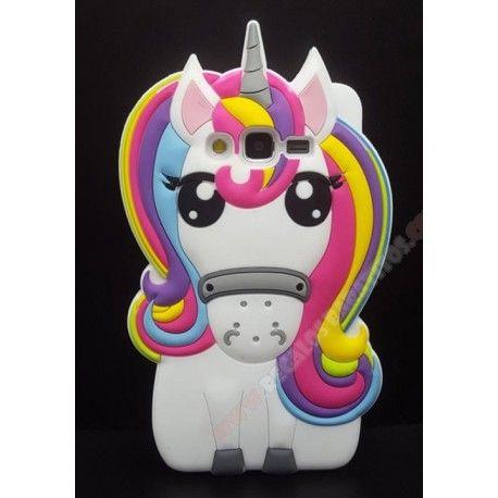 Carcasa unicornio Galaxy J7 2016 de colores muñeco silicona