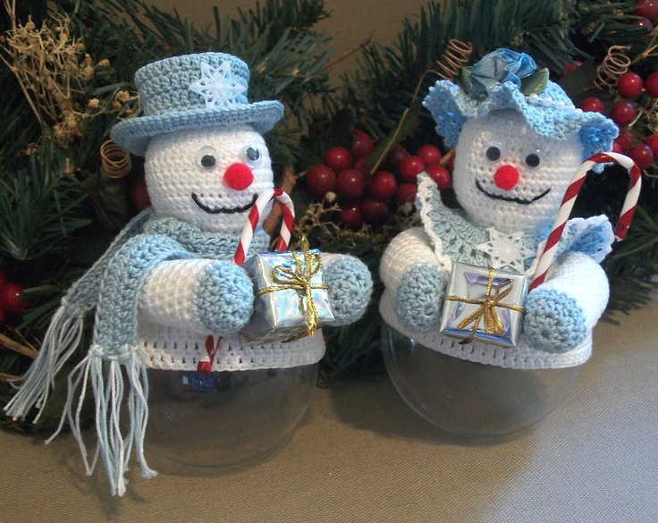 Christmas Ornament Covers Snow Couple Crochet Thread Patterns PDF. $3.00, via Etsy.