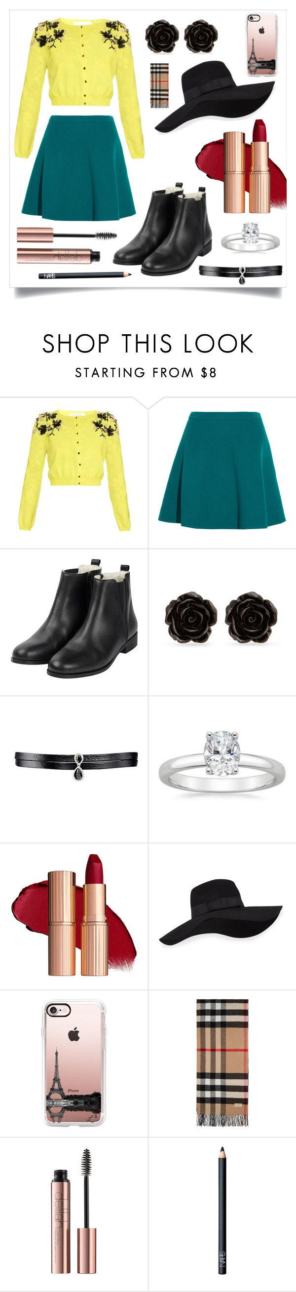 """""""Perfect Sense of Style"""" by i-love-tennis ❤ liked on Polyvore featuring Oscar de la Renta, Miu Miu, Erica Lyons, Fallon, San Diego Hat Co., Casetify, Burberry and NARS Cosmetics"""
