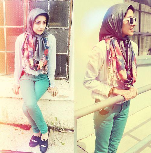 street-hijab-fashion:  Muslim Iranian activist, student, and fashion blogger Hoda. BLOG: joojoo-blog.blogspot for more!
