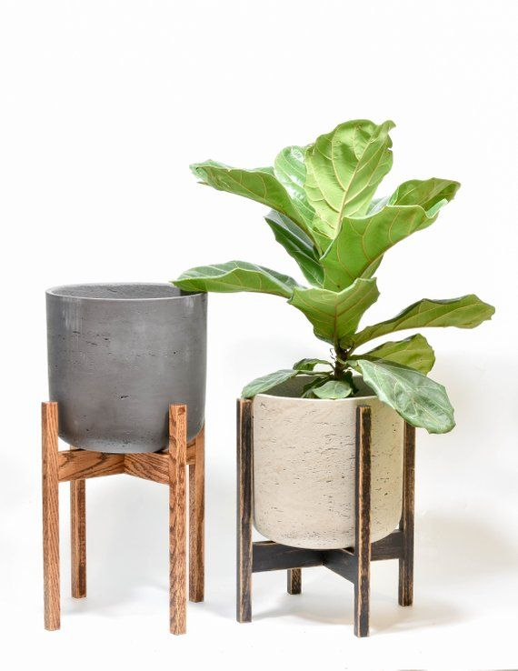 Mid Century Modern Planter Stand Indoor Plant Stand Reclaimed