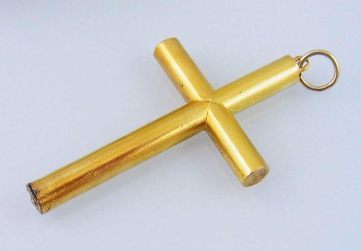 Biedermeier Gold 585 Kreuz um 1850/60 Goldkreuz (A1147)