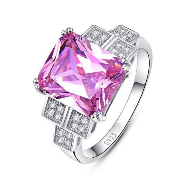 FREE Shipping Today on All Orders ! Square Topaz 925 Sterling Silver Pink Stone Ring