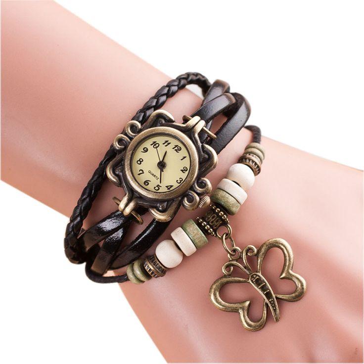Butterfly Bracelet Watch Women Leather Weave Quartz Wristwatch Relojes Mujer Women's Casual Dress Watches Clock Relogio As Gift