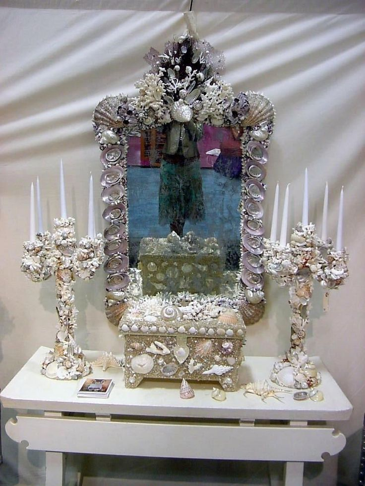 Huge Designer Grotto Shell and Coral Encrusted Mirror