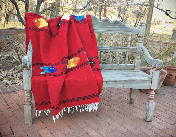 Woven Wall Hanging Red Area Rug, Falsa Blanket, Mexican Rug Southwestern Decor, Dorm Room Decor, Boho Decor Red Rug Large Rug, Wall Tapestry