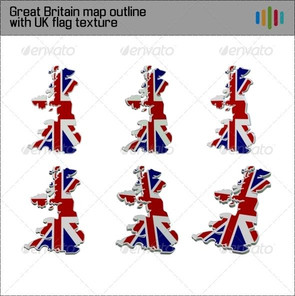 Six 3D renders of Great Britain map outline textured with UK flag, available as transparent .png images. Images are high-quality