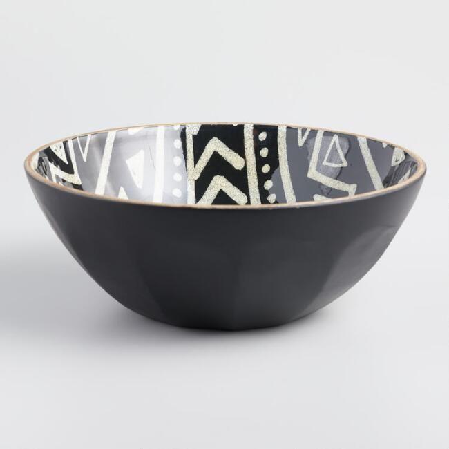 Black And White Folk Art Enamel Wood Salad Bowl V1 Home Goods In