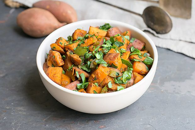 Skillet Sweet Potato Hash  |  Remove oil MyFoodDiary.com
