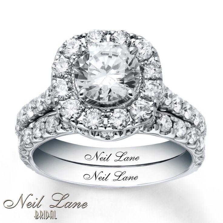Neil lane bridal set 3 38 ct tw diamonds 14k white gold