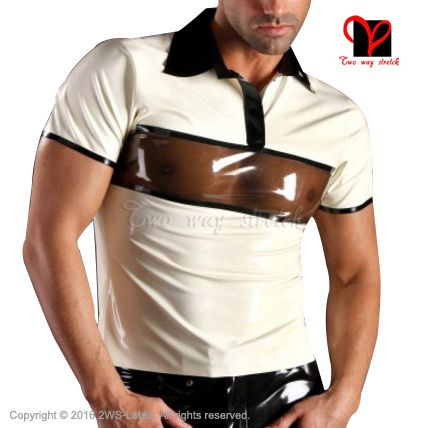 Sexy Latex Polo shirt turn down collar White with transparent black Rubber shirt Top clothes clothing plus size XXXL