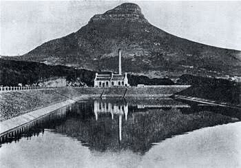 """The """"Graaff"""" Electric Lighting Works at Molteno Reservoir in Cape Town 1907."""
