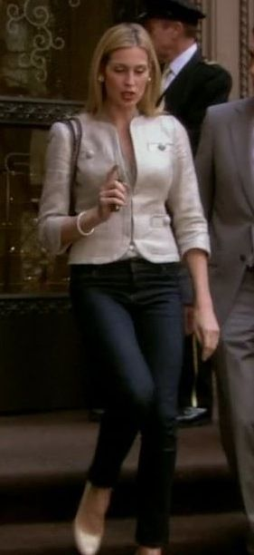 i love this.  cigarette jeans, a classic tweed jacket and a heel.  bravo!!!