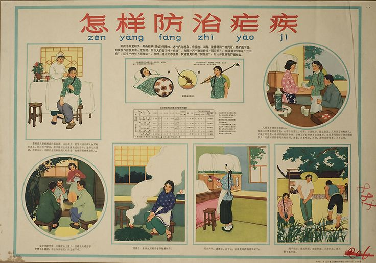 Painted by Zhou Shifan 周世范. Produced by the Health Education Institute of Liaoning Province, December 1964 (30,000 copies).  Modern and traditional methods of prevention of malaria are presented. Timely treatment includes an explanation of malaria and a chart of instruction for taking medicine.