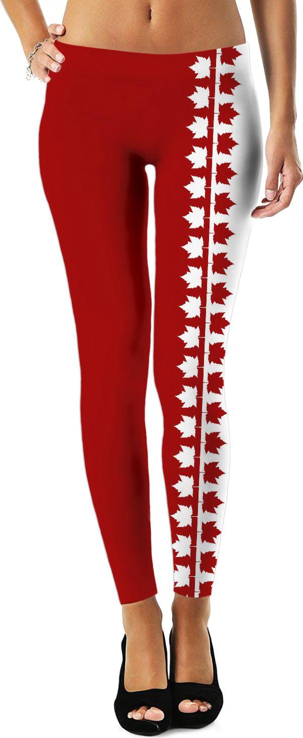 Canada Leggings Canadian Maple Leaf Stretchy Pants Sporty Canada Yoga Pants & Canada Souvenir Track Pants