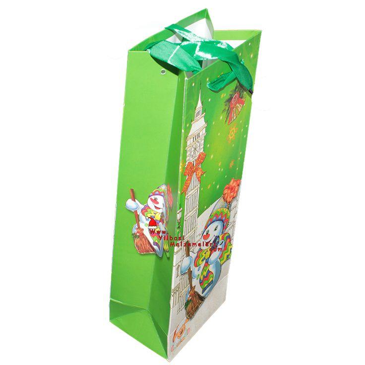 Yeşil Renk Karton Kardan Adamlı Yılbaşı İçecek Hediye Çantası | Yılbaşı Kutu ve Çantaları | Pandoli | Parti Malzemeleri ve Doğum Günü Süsleri Partidolu.com