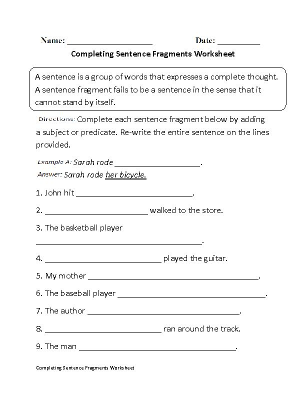 Completing Sentence Fragments Worksheet Beginner