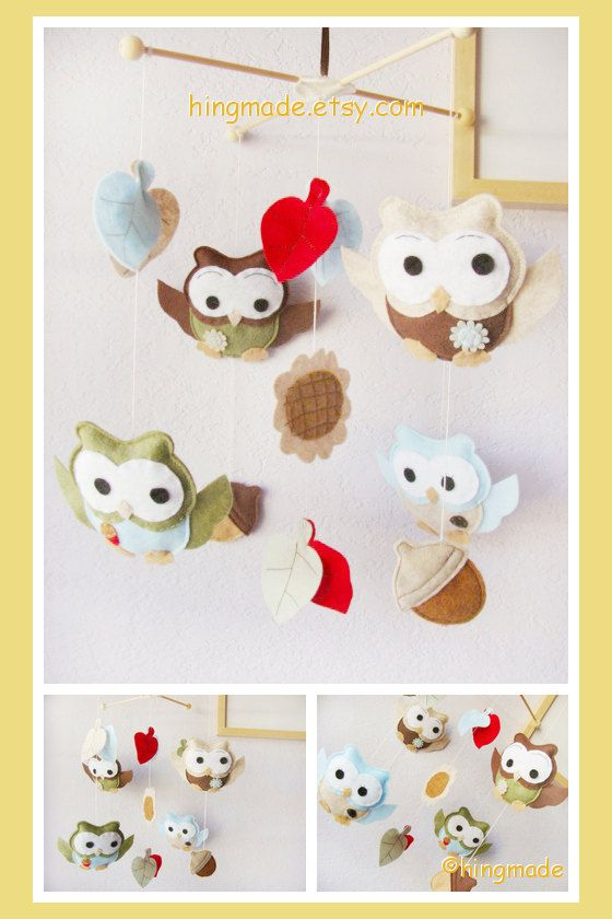 Owl Mobile - Baby Crib Mobile - Nursery Felt Mobile - Custom Mobile - Blue Brown Green Red Owls Play in Sunflower acorns(Large Size). I am making this