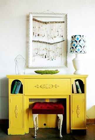 Old, ornate furniture spray painted in a bold colour always works.