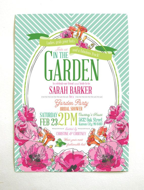 derby garden party bridal shower invitations gardens