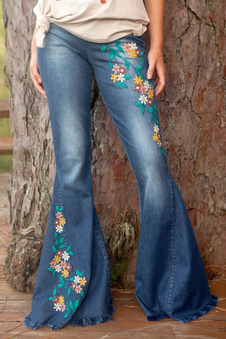 Judith March Flower Flare Jeans