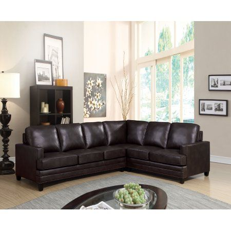 Majestic Sectional Sofa with Sleeper, Espresso Leather Match