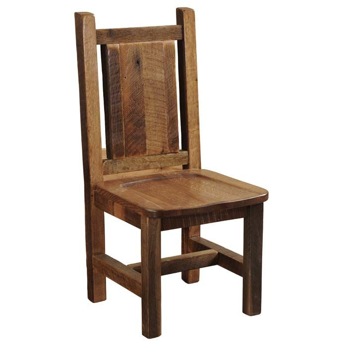 Barnwood Artisan Side Chairs - Set of 2 Western Dining Chairs - The perfect chair for our barnwood dining tables. Individually hand crafted using reclaimed Red Oak from 1800s tobacco barns gives the furniture unique character. Seat is contoured antique oak. A dull catalyzed lacquer finish is extra durable and retains the natural look of the wood. Made in the USA and ships in 4-6 weeks.