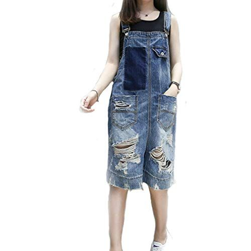 low priced fc49b 2403f LYLXS Damen Latzhose Denim Baggy Overall Distressed Jeans ...