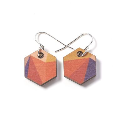 Printed Wooden Fractal Earrings - Autumn. From Polli.