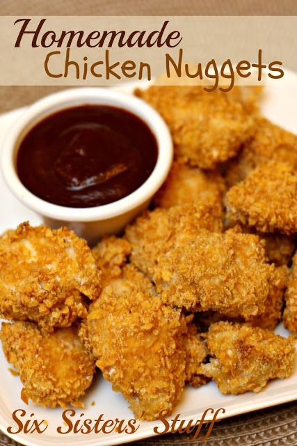 Homemade Chicken Nuggets (I usually double the batch and freeze half for another night!) SixSistersStuff.com