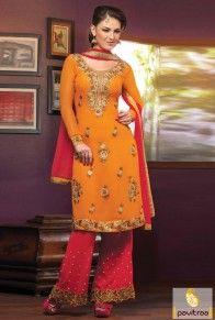 Pakistani Style Orange Embroidery Salwar Suit  http://www.pavitraa.in/store/partywear-salwar-suit/  #anarkalidress, #dresses, #salwarsuits, #salwarkameez, #pakistanidres, #onlineshop