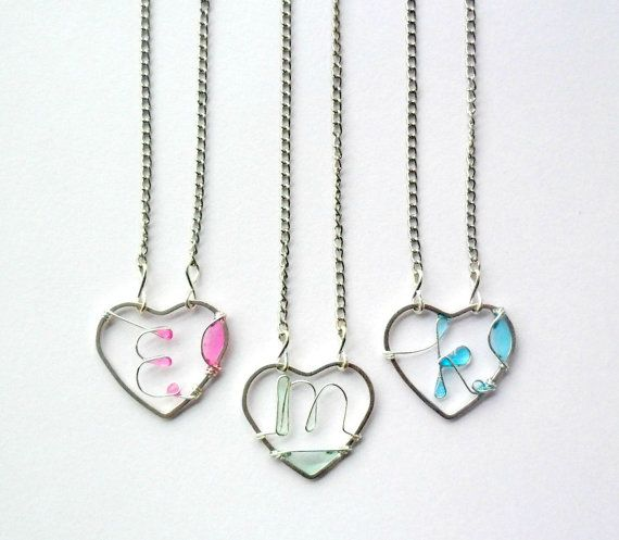 Initial heart necklace wire initial pastel by ThePurpleBalloon
