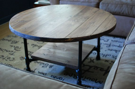Round Industrial Coffee Table W Shelf By