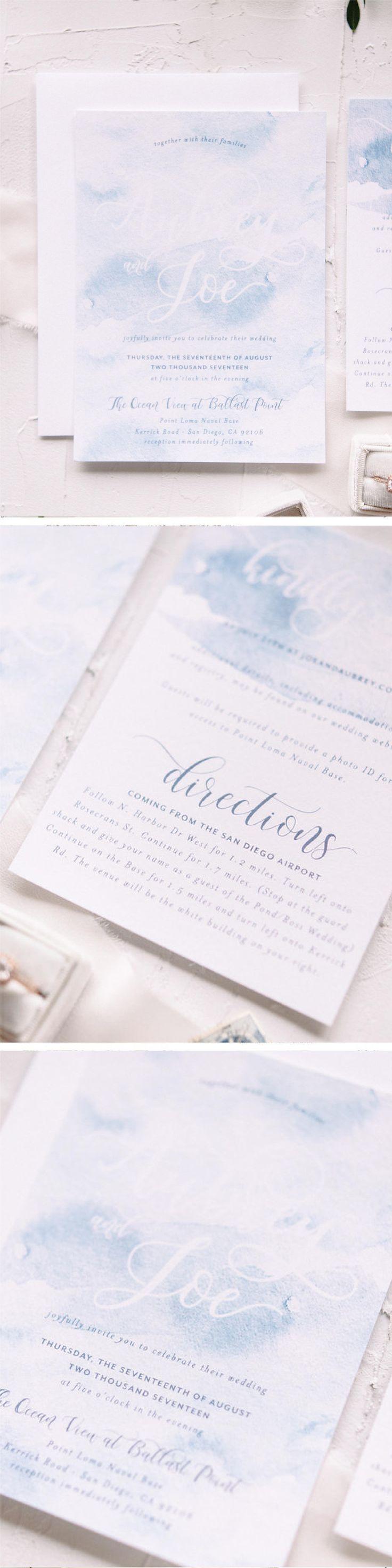 wedding invitations atlanta%0A Romantic baby blue watercolor wash wedding invitation by Blush Paper Co