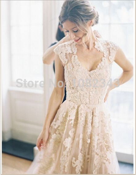 2015 Champagne Romantic Beach Dresses V Neck Cap Sleeves Bridal Wedding Gown Vintage A Line White Lace Long Wedding Dresses-in Wedding Dresses from Weddings & Events on Aliexpress.com | Alibaba Group