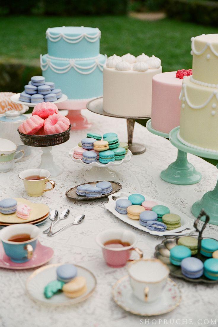 english tea party desserts | Bridal Shower tea party theme with pastel dessert table.